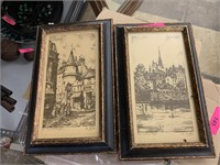 2PC FRAMED EUROPEAN PRINTS