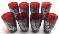 8 CRANBERRY COLORED  ANCHORGLASS TUMBLERS