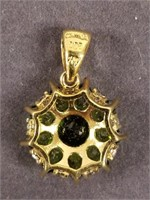 Str3rling silver green stone pendant