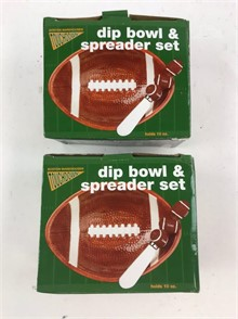 2 Football Shaped Dip Bowl Spreader Sets Other Items For