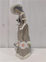 Lladro woman with kittens porcelain figurine