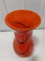 Murano Art Glass Vase Orange & Black