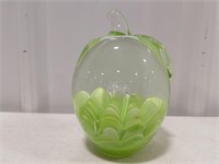 Joe Rice Art Glass Green Apple Paper Weight