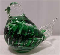 Joe Rice Art glass Bird dark green