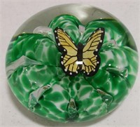 Bob St. Clair Paper Weight-dark green, butterfly