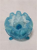 Fenton Blue opalescent Footed Rose Bowl