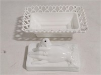 Victorian Atterbury Milk Glass Dish Dove in Hand