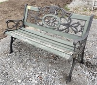 4 ft Cast Iron and Wooden Outdoor Bench