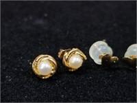 3 14kt Gold Earrings