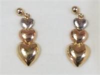 10kt Gold J.C.M. Heart Earrings