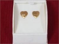14kt Gold Single Heart Earrings