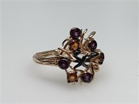 STERLING SILVER RING W AMETHYSTS