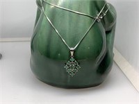 STERLING SILVER NECKLACE W EMERALD PENDANT