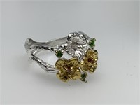 STERLING SIVER RING W GARNETS / CHROM DIOPSIDE