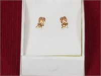 14kt Gold Rose Earrings