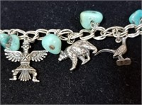Sterling NAVAJO Turquoise Charm Bracelet