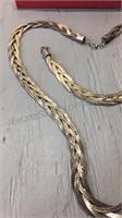 Silver Tone braided Necklace & Bracelet