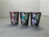 Carnival Glass Hand Painted Decorative Glasses