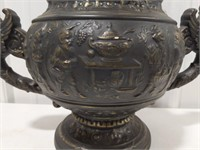 Asian Themed Pottery Handled Urn