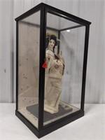 """Snow Queen""Collectible Geisha with Glass Case"
