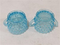 Blue Opalescent Hobnail Glass Cream & Sugar