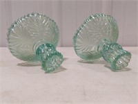 Pair of Green Fenton Glass Candlestick Holders
