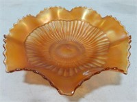 Double Flared Amber Carnival Glass Bowl
