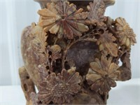 Carved Asian soapstone vase