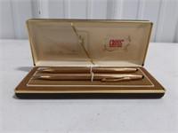 Vintage Cross 14KT gold filled pens with case.