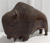 """Wooden Carved Buffalo measures 6.5"""" tall by 9"""""""