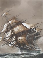Tall Ship Scene Oil Painting On Canvas signed by