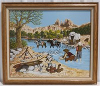 Gold Prospectors Oil on canvas print by