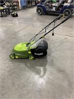 SunJoe electric lawnmower with bag