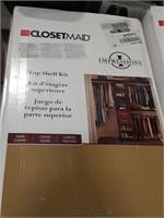 """Closet maid shelf kit. Dark cherry finish. 13"""" x"""
