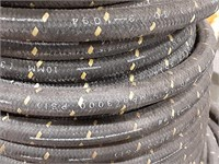 Parker 3/8 rubber hose with braided exterior.
