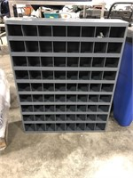 Metal storage unit with 72 compartments