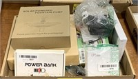 Solar powered fountain pump, power bank,