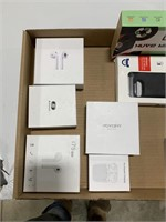 Box lot wireless headphone, phone case and others