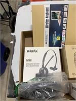 Box lot wireless headset, wireless keyboard and