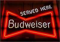 """Served here Budweiser"" neon sign"