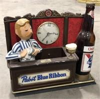 Light Up Pabst Blue Ribbon Metal Bartender Clock