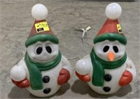 Blow mold mini snowman one missing nose