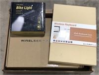 Box lot with bike light, wireless keyboard,led