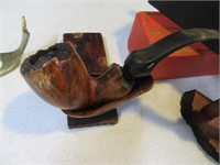 Lot (4) Vintage Smoking Pipes Wood + Extras Estate