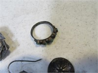 Lot (3) Pawn Vintage Jewelry sz5ring~OwlPin~Earrng