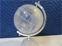 "10"" Marked Glass World Globe Leaded Crystal NICE"