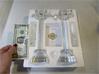 """Stunning 9"""" Crystal Candle Holders w/ Dangles MINT"""