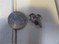 Beautiful .925 Jewelry Pendant w/ Purple Stones