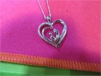 .925Slv~Diamond NEW Mother Pendant & Necklace Boxd
