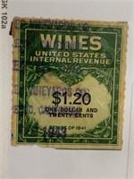 1941 Wines 1.20Cent Stamp